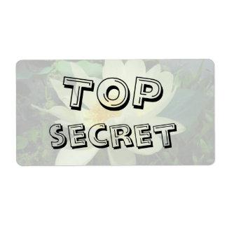 Etiqueta secretísima del regalo de la flor del etiqueta de envío