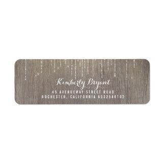 Etiqueta Secuencia de las luces y de la madera rústicas