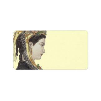 Etiqueta Señora elegante del Victorian en fondo del color