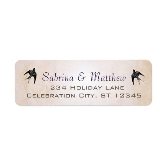 Etiqueta simplemente amelocotonada del boda del etiqueta de remitente