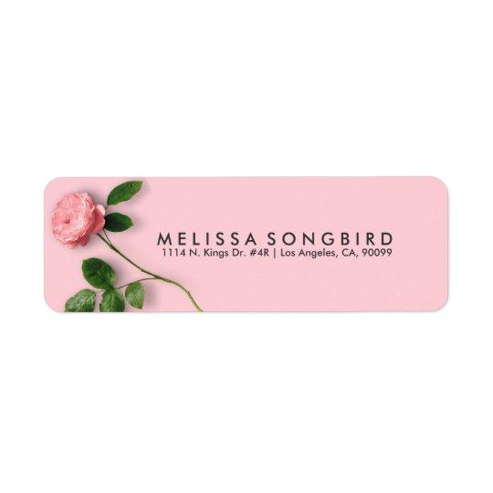 Etiqueta Solo color de rosa rosado elegante