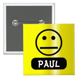 Etiqueta sonriente en blanco del nombre de la cara chapa cuadrada 5 cm