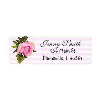 Etiqueta subió vintage rayado rosado del remite