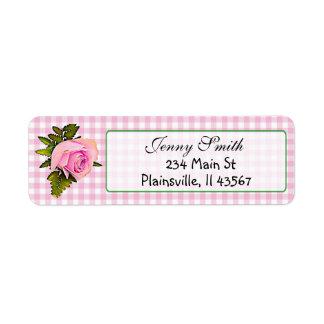 Etiqueta subió vintage rosado del remite de la