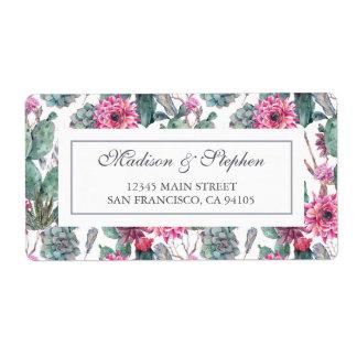 Etiqueta Suculento y floral bohemios - boda