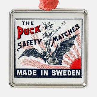 Etiqueta sueca de la caja de cerillas del duende adorno de cerámica