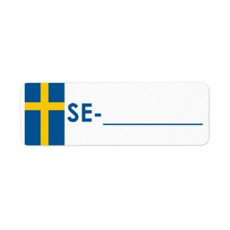"""Etiqueta Suecia """"estilo de la identificación de Po Etiqueta De Remite"""