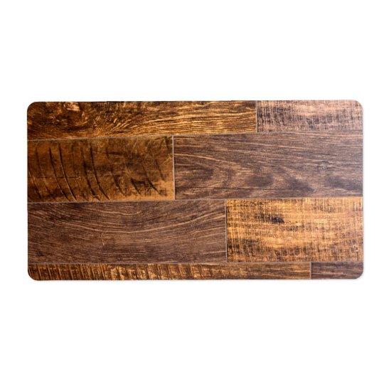 Etiqueta tablón de madera