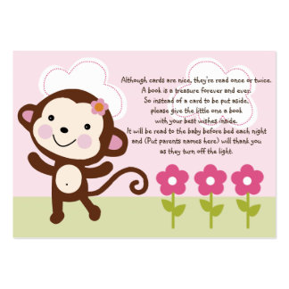 Etiqueta/tarjeta del favor del mono del chica de l tarjetas de visita grandes