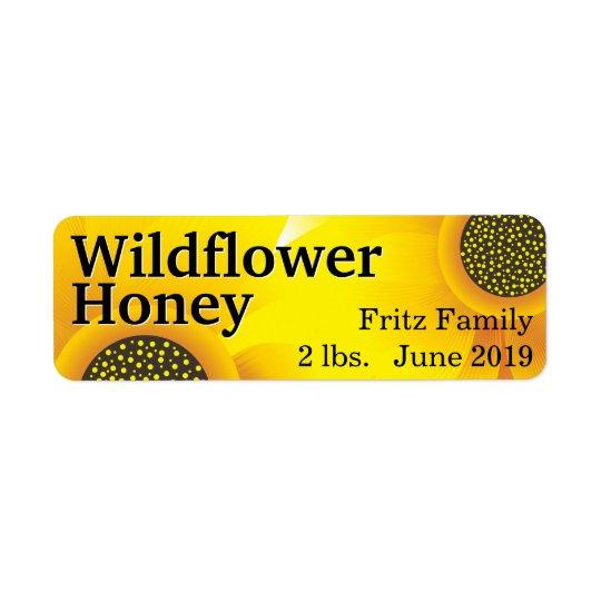 Etiqueta Tarro de oro de la miel del Wildflower