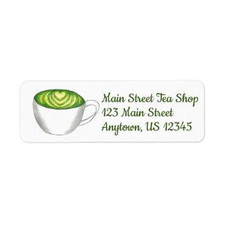 Etiqueta Taza de té Foodie de Latte del té verde de Matcha