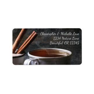 Etiqueta Taza rústica de dirección del té y del chocolate