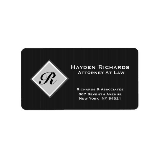 Etiqueta Telas a rayas del negro del abogado del abogado