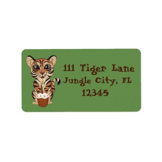 Etiqueta Tigre del cumpleaños