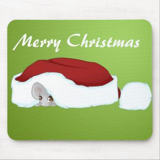 Etiqueta tímida del regalo del ratón del navidad alfombrilla de ratón