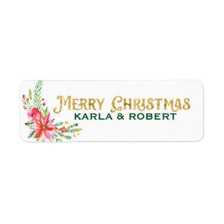 Etiqueta Tipografía del oro de las Felices Navidad y ramo