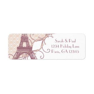 Etiqueta Torre Eiffel de color de malva del vintage del