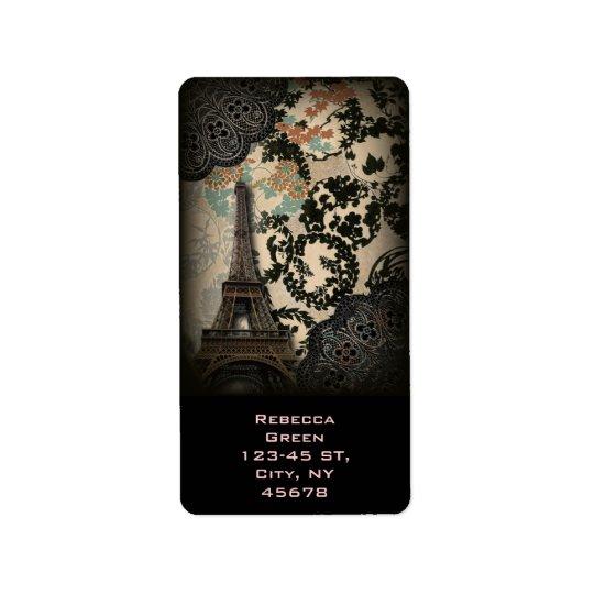 Etiqueta torre Eiffel floral negra bohemia de París del