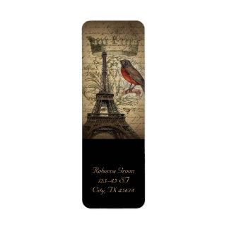 Etiqueta Torre Eiffel moderna de París del vintage del