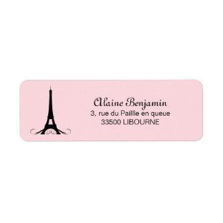 Etiqueta Torre Eiffel rosada de París