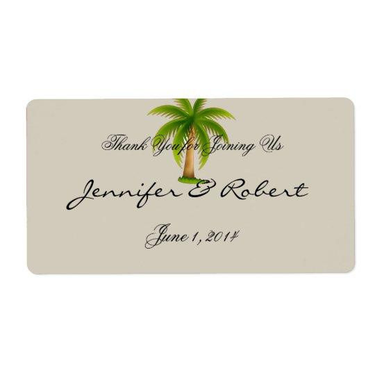 Etiqueta tropical de la botella de agua de la