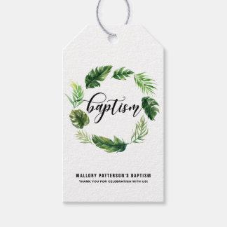 Etiqueta tropical del regalo del bautismo de la