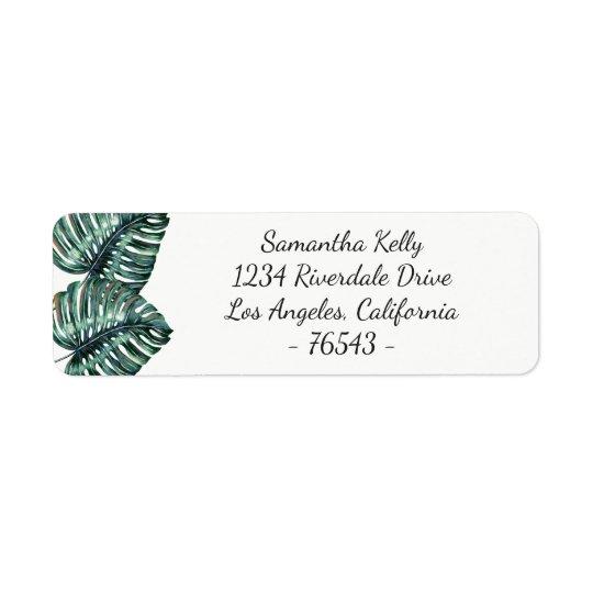 Etiqueta tropical del remite de la hoja