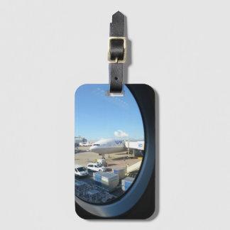 Etiqueta unida del equipaje del avión de aire