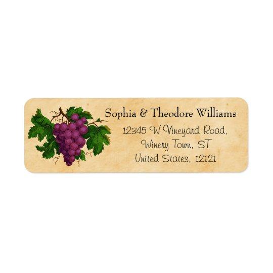 Etiqueta Uvas de la púrpura del vintage del fiesta del vino