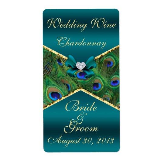 Etiqueta verde azulada del vino del boda del pavo etiquetas de envío