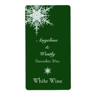 Etiqueta verde compensada del vino del boda Nevado Etiqueta De Envío