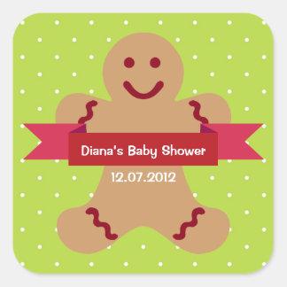 Etiqueta verde de la fiesta de bienvenida al bebé