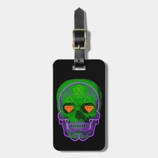 Etiqueta verde del equipaje del cráneo del azúcar