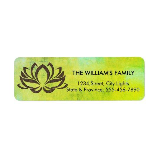 Etiqueta Verde del vintage de la yoga de la flor de Lotus