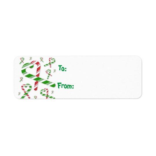Etiqueta verde roja Lables del regalo del bastón Etiqueta De Remite
