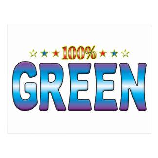 Etiqueta verde v2 de la estrella tarjetas postales
