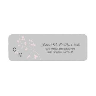 Etiqueta Vid gris color de rosa rosada de encargo que casa