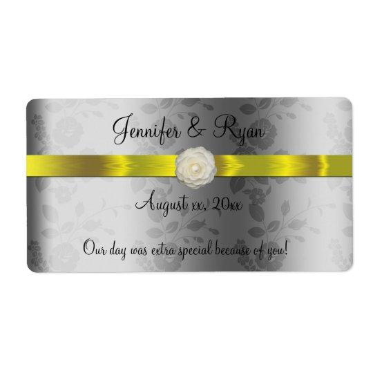 Etiqueta Vino del boda, amarillo y de plata elegantes,