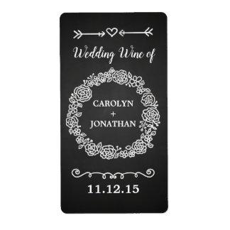 Etiqueta Vino floral del boda de la guirnalda de la pizarra