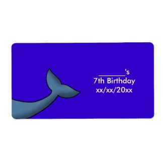 Etiqueta Vino o botella de agua de la cola de la ballena
