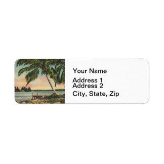 Etiqueta vintage de las palmeras