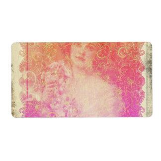 Etiqueta Vintage, époque de la belleza, señora hermosa,