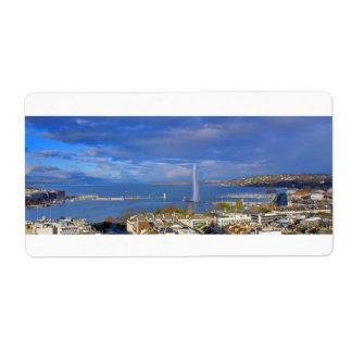 Etiqueta vista general de Ginebra el azul de la ciudad y de