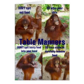 Etiqueta y maneras para la fauna o la gente tarjeta