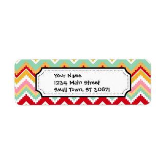 Etiqueta Zigzag tribal azteca de la fiesta de Chevron de
