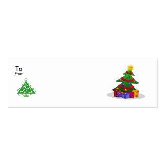 Etiquetas alegres del árbol de navidad tarjetas de visita mini