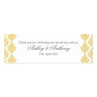 Etiquetas amarillas del favor del boda del damasco tarjetas de visita mini