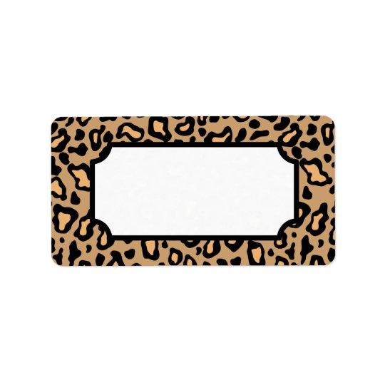 Etiquetas animales del estampado leopardo etiqueta de dirección