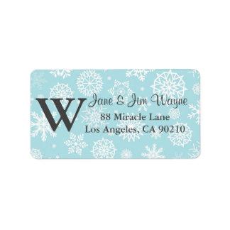 Etiquetas azules 1 del monograma del navidad del etiqueta de dirección