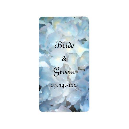 Etiquetas azules del favor del boda del Hydrangea